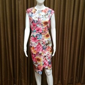 New York & company floral cap sleeve dress